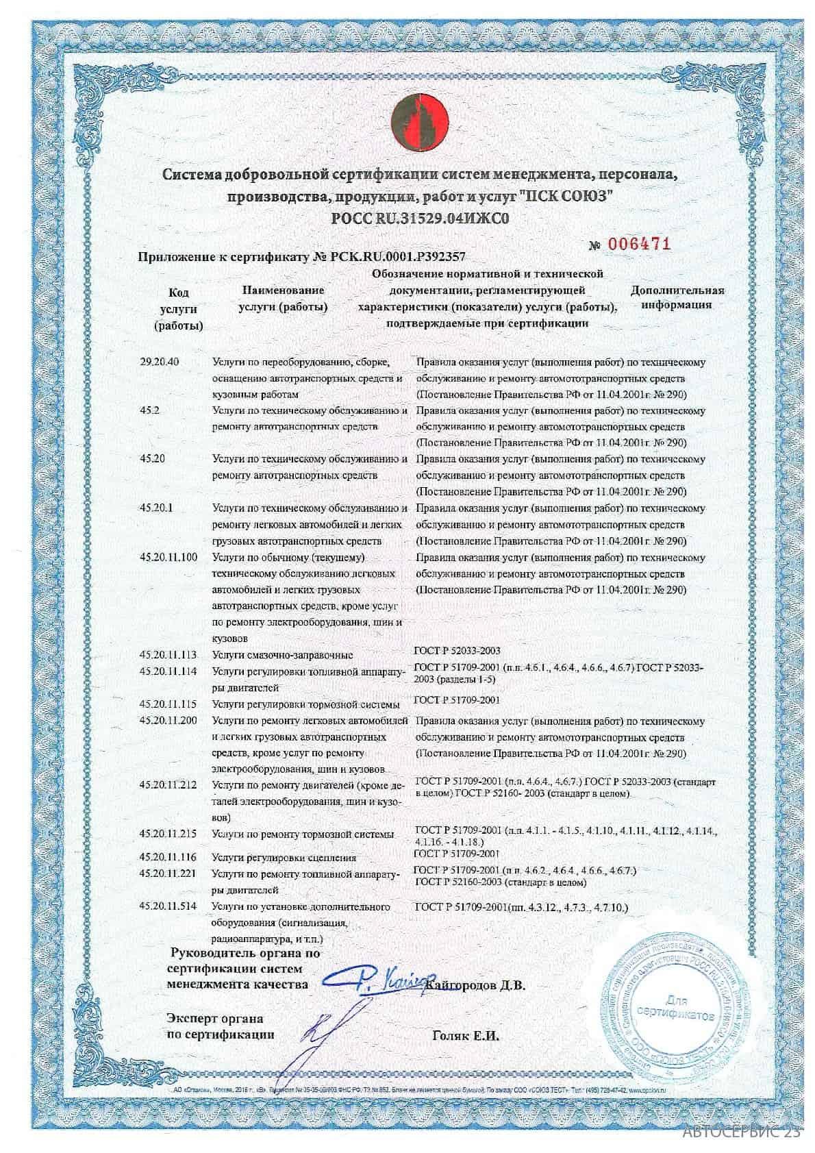 Сертификат №3 Avtoservis23