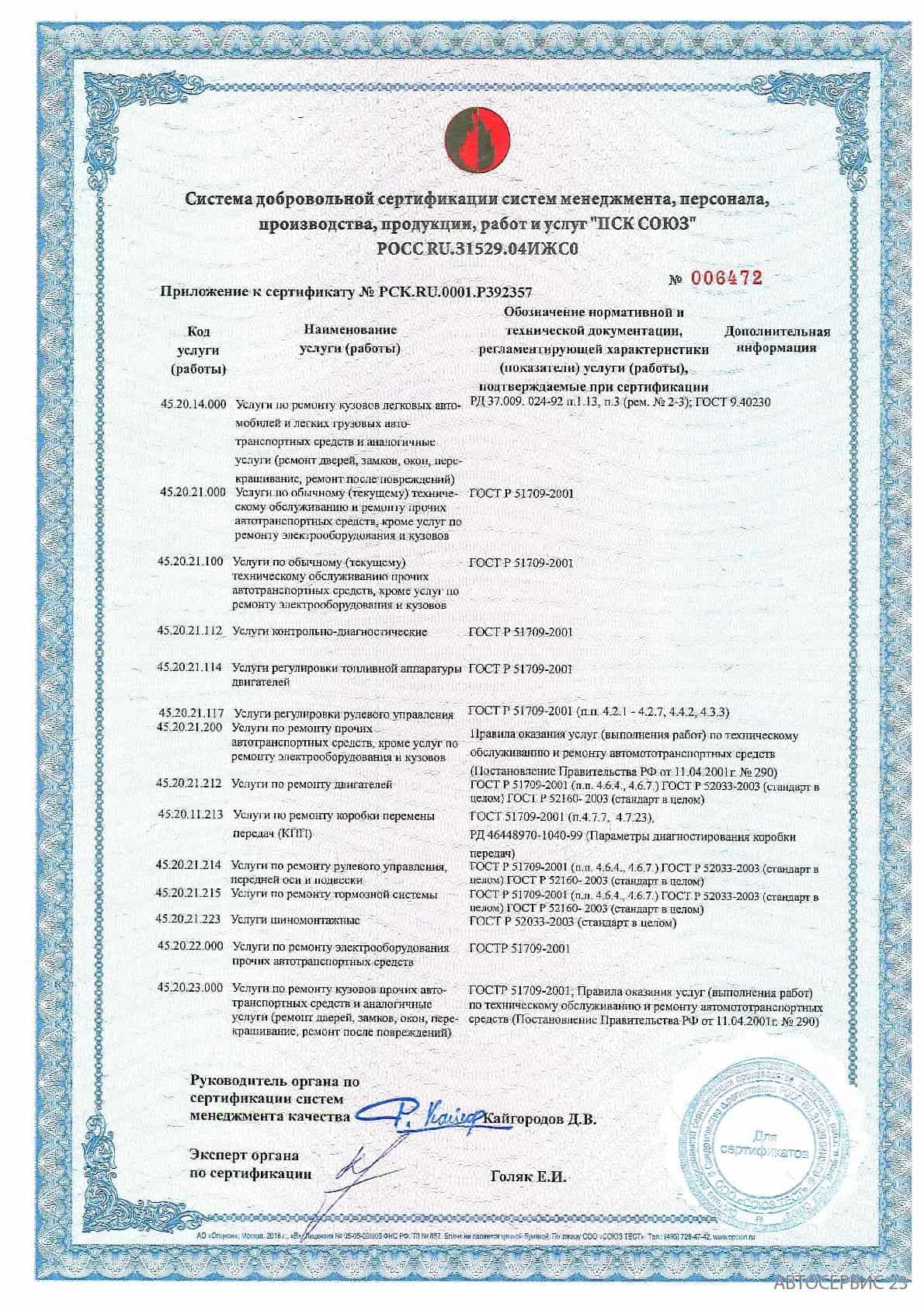 Сертификат №2 Avtoservis23